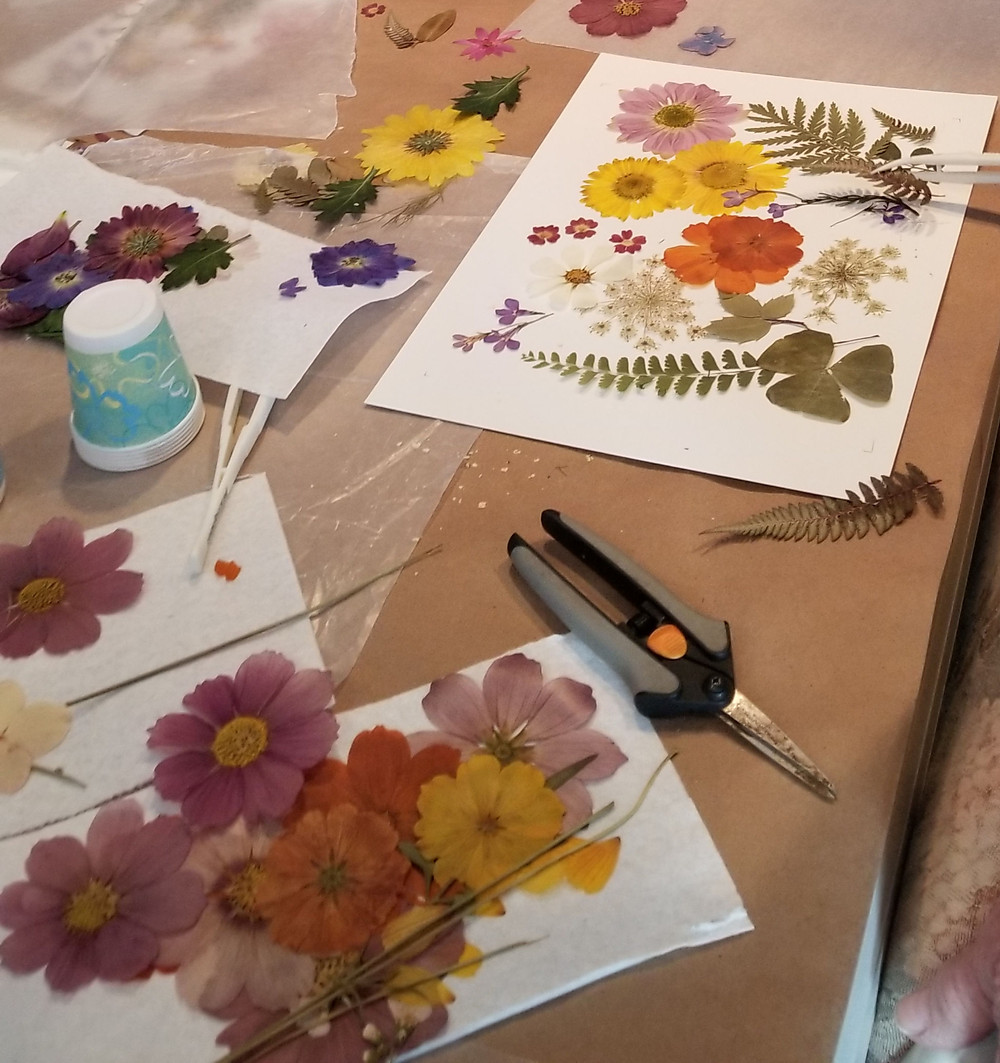 pressing flowers in Vermont at a craft workshop
