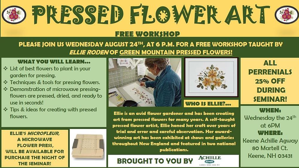 Flyer for a pressed flower art workshop in 2016