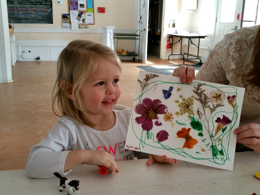 pressing flowers with children