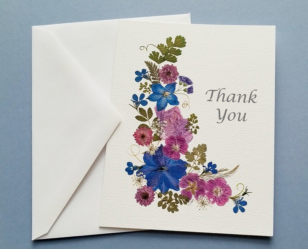 Pressed flower thank you note