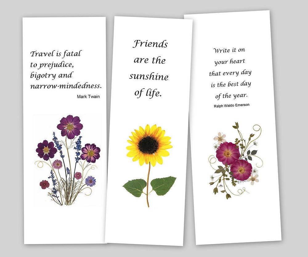 pressed flower art bookmarks from Vermont pressed flowers
