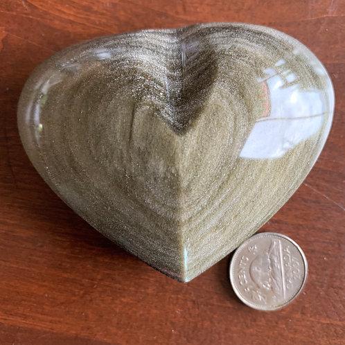 "Gold Sheen Obsidian 3"" Heart"