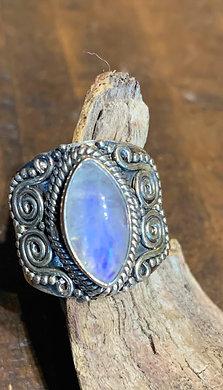 Ring—Rainbow Moonstone