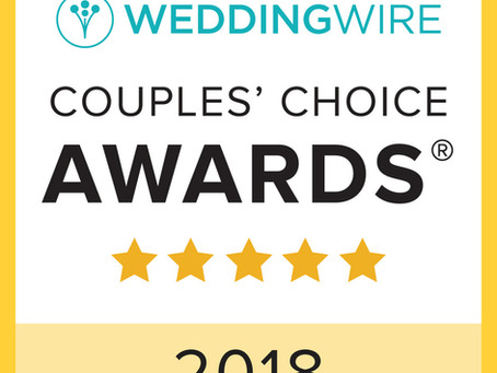 Back to Back! Winner of WeddingWire's Couples' Choice Award 2 Years in a Row