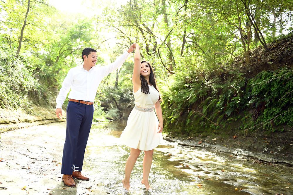 Creek dancing engagement