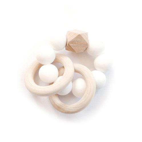 Duo Ring Mini Teether - White
