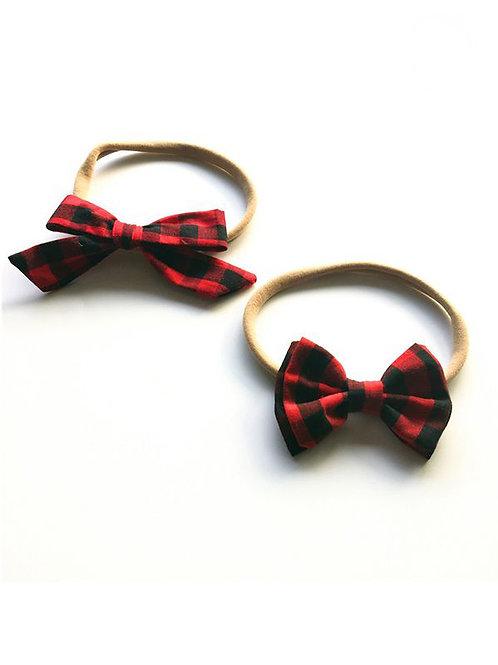 Headband Duo - Black + Red Mini Check