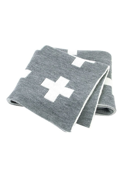 Plus Knit Blanket - Gray + White