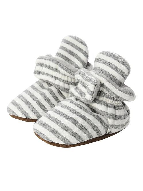 Everyday Booties - Gray + White Stripe