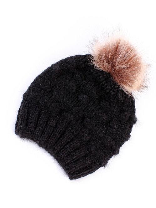 Crochet Pom Beanie - Black