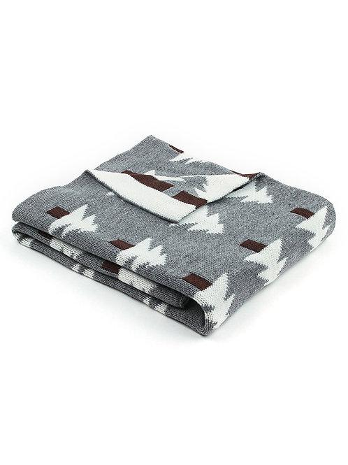 Fir Tree Knit Blanket - Gray + White