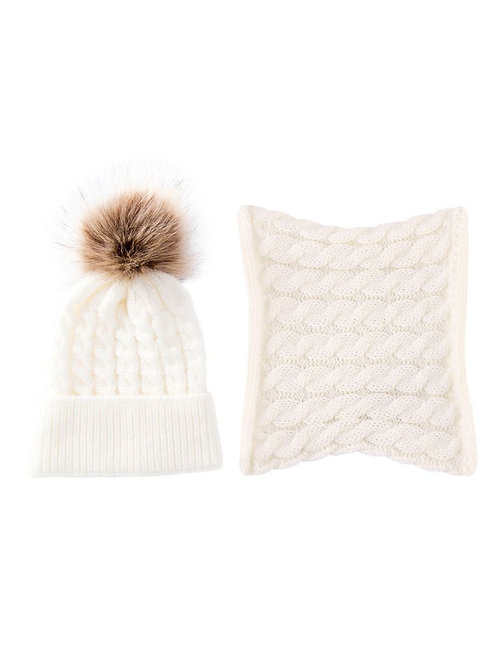 Cableknit Pom Beanie + Scarf - White