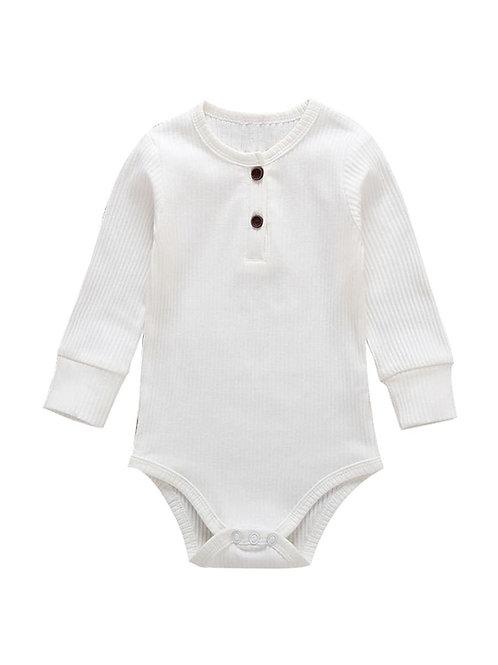 Long Sleeve Ribbed Bodysuit - White