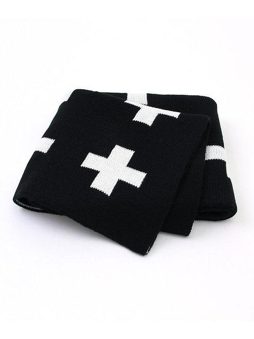 Plus Knit Blanket - Black + White