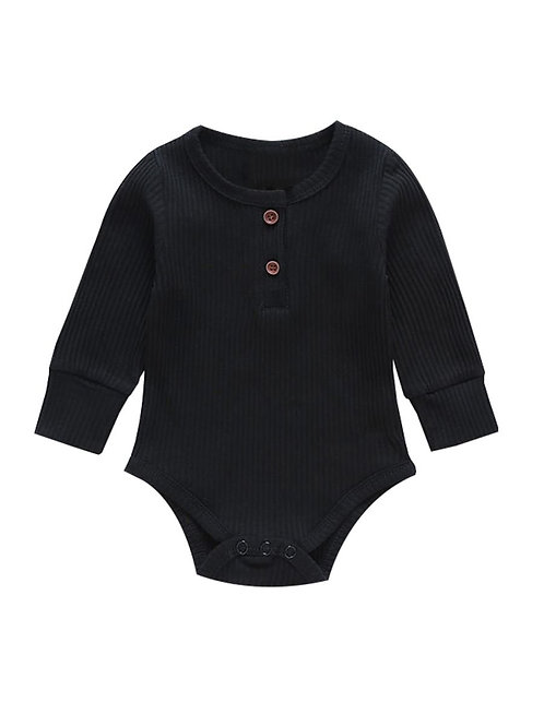 Long Sleeve Ribbed Bodysuit - Black