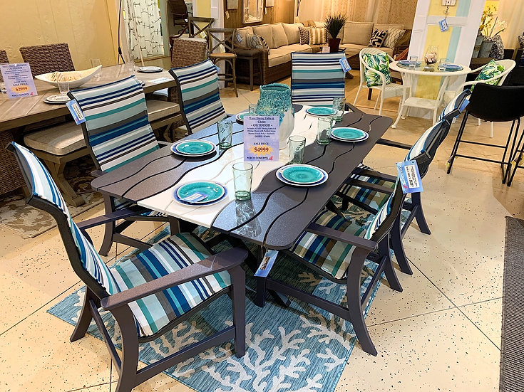 Wave Outdoor Dining Table & Chairs (7pc Set)