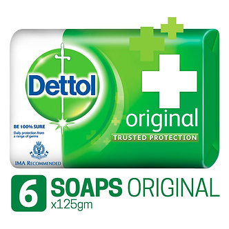 Dettol Germ Protection Bathing Bar Soap - 125 g (Pack of 6, Original)