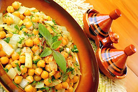 Foto de um prato com grão-de-bico