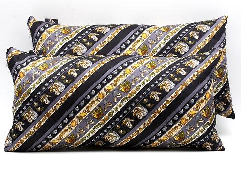 Cuscini in seta blu con stampa animale