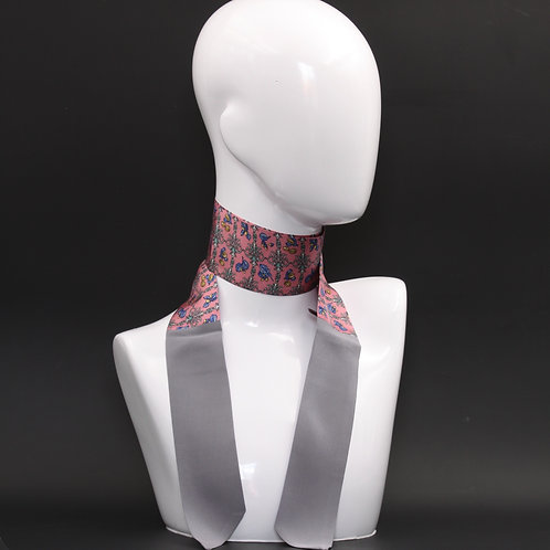 Foulard Scalda collo in pura seta grigio e rosa