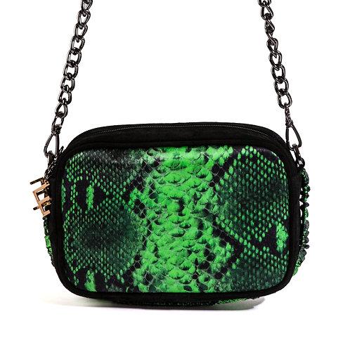 borsa a tracolla in pelle nera e setacon stampa animalier verde