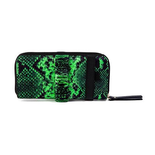 portafoglio pochette in pelle e seta verde