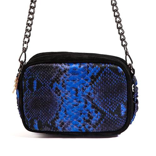 borsa a tracolla in pelle nera e seta con stampa animalier blu