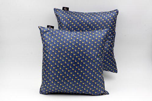 Cuscinidi seta blu cobalto con stampa floreale per divani classici e moderni