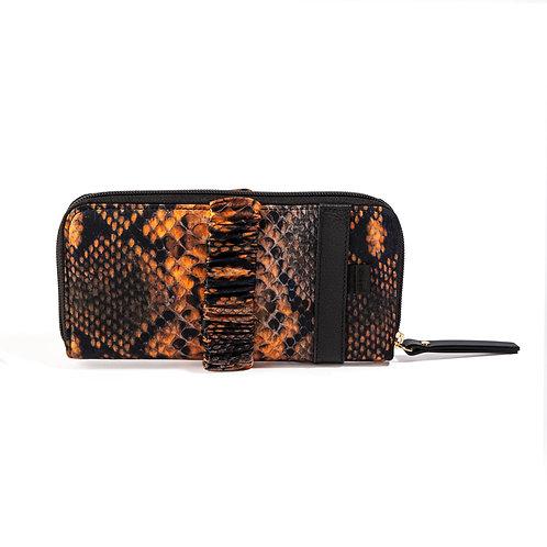 portafoglio pochette in pelle e seta arancione