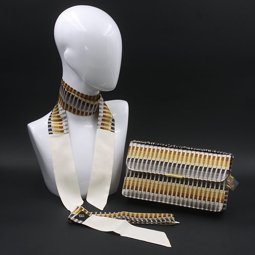 Clutch bag gialla e grigia con stampa geometrica con 2 foulard abbinati
