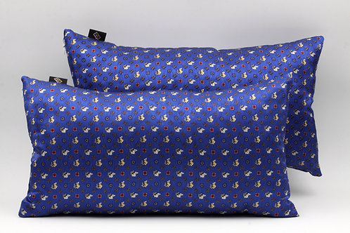 Cuscini in seta blu elettrico con stampa floreale, di forma rettangolare
