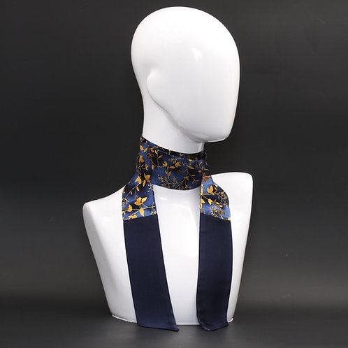 Foulard in seta blu Scalda collo
