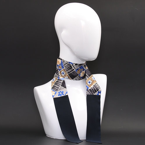 Foulard in seta blu Scalda collo