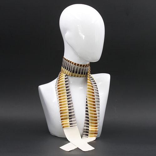 Foulard Scalda collo in pura seta grigio e giallo