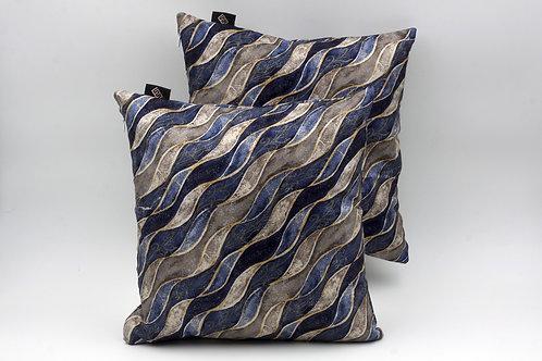 Cuscinieleganti in seta blu con stampa geometrica, sfumature di grigio