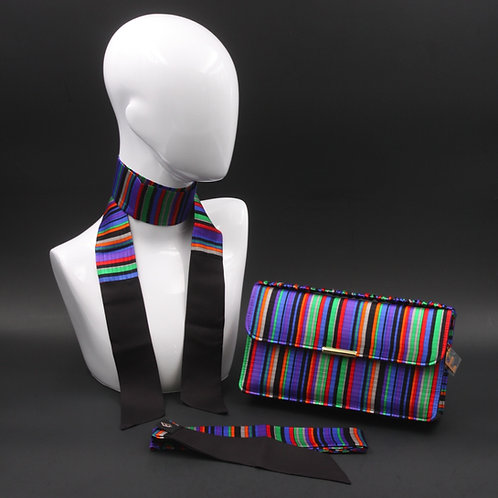 Clutch bag in seta multicolore con stampa a righe, con 2 foulard abbinati
