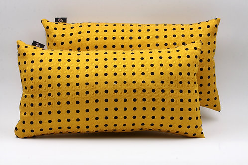 Kit Cuscini in seta gialli a pois rettangolari 043
