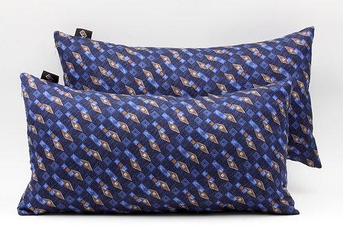 Fodera cusciniin seta blucon stampageometrica, conimbottitura inclusa