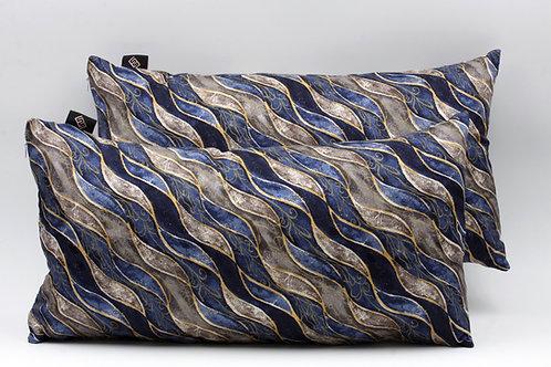Cuscini blucon stampa geometrica grigia e azzurra