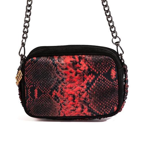 borsa a tracolla in pelle nera e setacon stampa animalier rossa