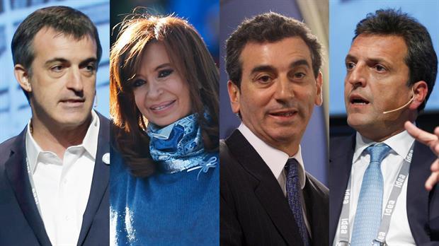 Candidates for Senate to represent Buenos Aires province: Esteban Bullrich (Cambiemos), Cristina Fernández de Kirchner (Unión Ciudadana), Florencio Randazzo (Frente Justicialista), Sergio Massa (1País). Source: La Nación.