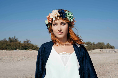 Couronne Lola vert amande/bleu nuit/ivoire/rose