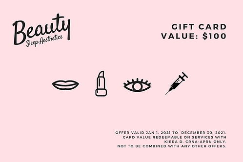 $100 Beauty Sleep Aesthetics Gift Card