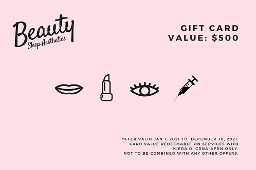 $500 Beauty Sleep Aesthetics Gift Card