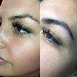 Before and After brow wax and tint