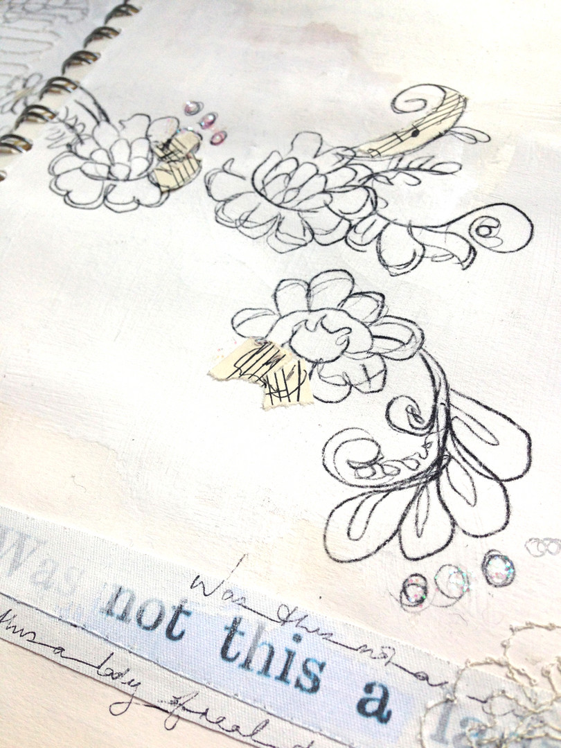 Lace sketchbook page