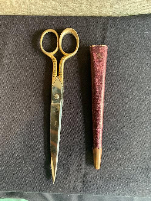 Solingen German Scissors in Red Leather Sheath