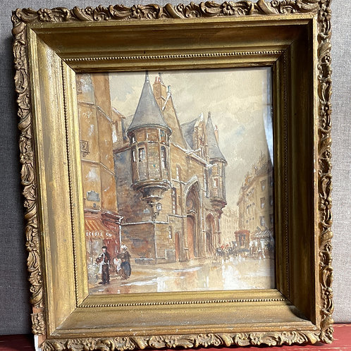 Original Gouache Painting Paris R. Stanley Brown