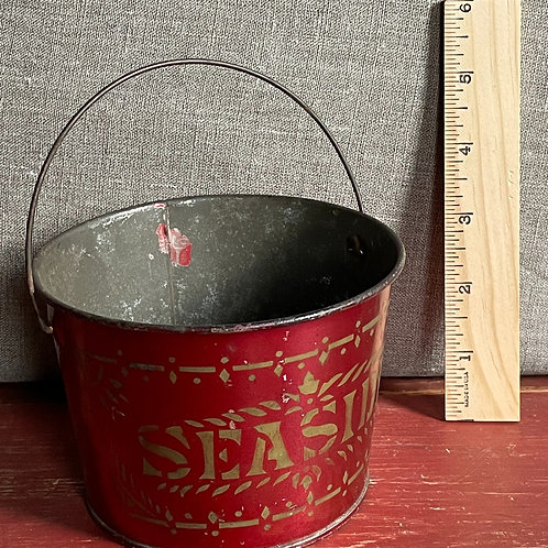 """Very HTF 19th C Sand Pail in red with """"Seaside"""""""