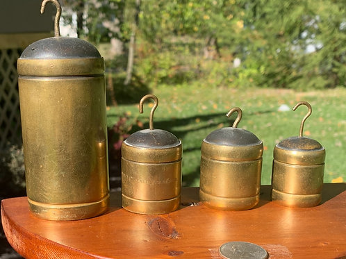 Set of Brass Weights for a Hanging Balance Scale